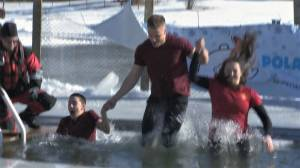 Calgary dippers jump into icy Arbour Lake in support of Special Olympics Alberta