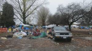Residents of Vancouver's Strathcona neighbourhood calling for swifter action on homeless camp (01:54)