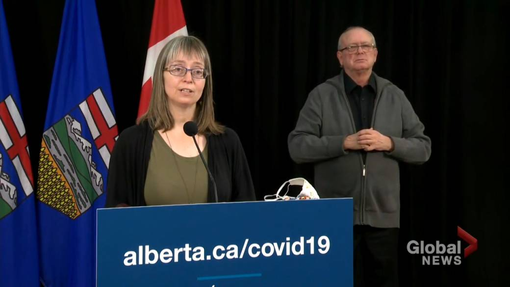 Click to play video 'Coronavirus: 1,549 new COVID-19 cases and 5 additional deaths recorded in Alberta Monday'