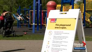 Children in Calgary quick to enjoy reopened playgrounds in the city