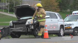 Woman taken to hospital following two-car crash on Ashburnham Drive in Peterborough (00:39)