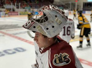 Peterborough Petes' goalie honours the late broadcast legend Gary Dalliday