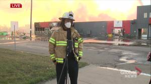 Fire guts charity and thrift shop in east Edmonton industrial area (02:46)
