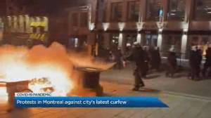 Hundreds defy curfew in Montreal in destructive protest of COVID-19 measures (00:35)