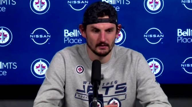 Click to play video: RAW: Winnipeg Jets Connor Hellebuyck Interview – Apr. 2