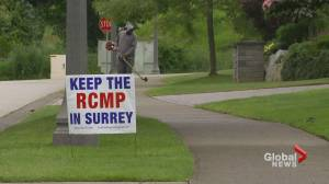 New survey says more than half of Surrey residents opposed switching from RCMP to municipal police force (02:28)