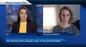 Fire destroys Moria refugee camp; 13 thousand homeless