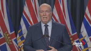 B.C. premier announces $27B in COVID-19 relief for essential transportation operators (03:07)