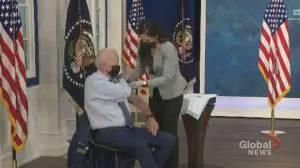 Biden gets COVID-19 vaccine booster shot (01:42)