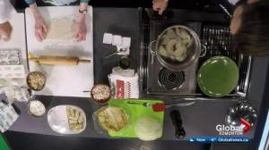 Global Edmonton sports anchor Kevin Karius cooks Christmas pierogi with neighbour Olga