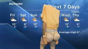 Calgary meteorologist Jordan Witzel shows off his cheese 'buns' (01:09)