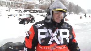Snowmobile racing on Stoney Lake