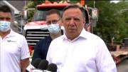 Play video: Quebec Premier François Legault tours tornado-ravaged suburb of Mascouche, north of Montreal