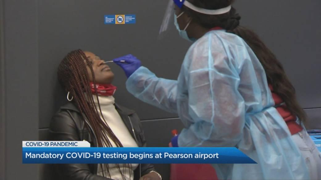 Click to play video 'Mandatory COVID-19 testing begins at Toronto Pearson International Airport'