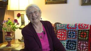 94-year old Kingston senior keeps busy with her knitting creating a COVID-19 blanket