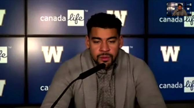 Click to play video: RAW: Andrew Harris speaks about re-signing with the Bombers