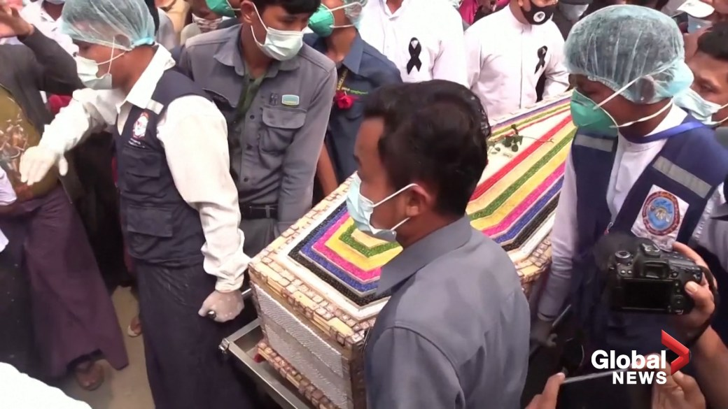 Click to play video 'Myanmar coup: Hundreds attend funeral for woman killed during protests'