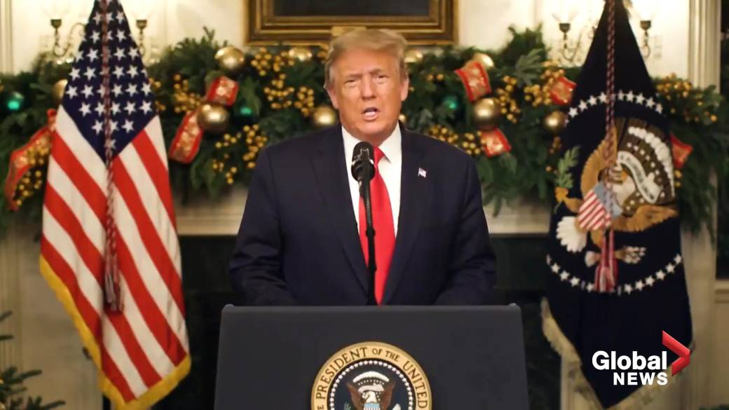 """Click to play video '""""We have to be remembered for what's been done"""" says Trump in New Year's video message'"""