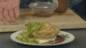 Rhubarb relish and tourtiere with Chartier