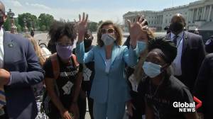 George Floyd death: U.S. House Speaker Nancy Pelosi meets with protesters outside Capitol building
