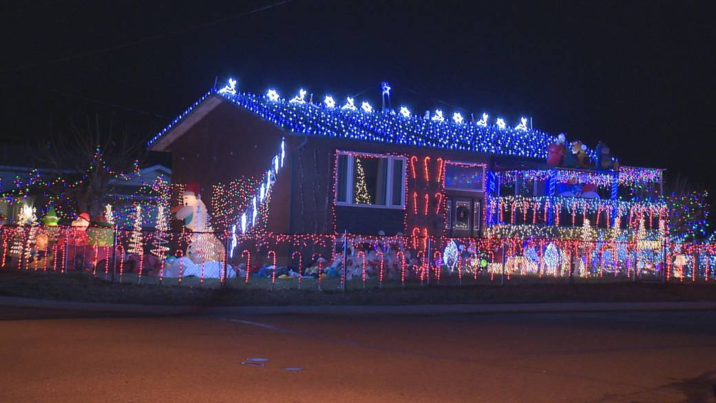 """Click to play video '""""I think about 14-thousand,"""" Vernon man estimates how many Christmas lights he has on his house and in the yard as he creates a magical scene for the holidays.'"""