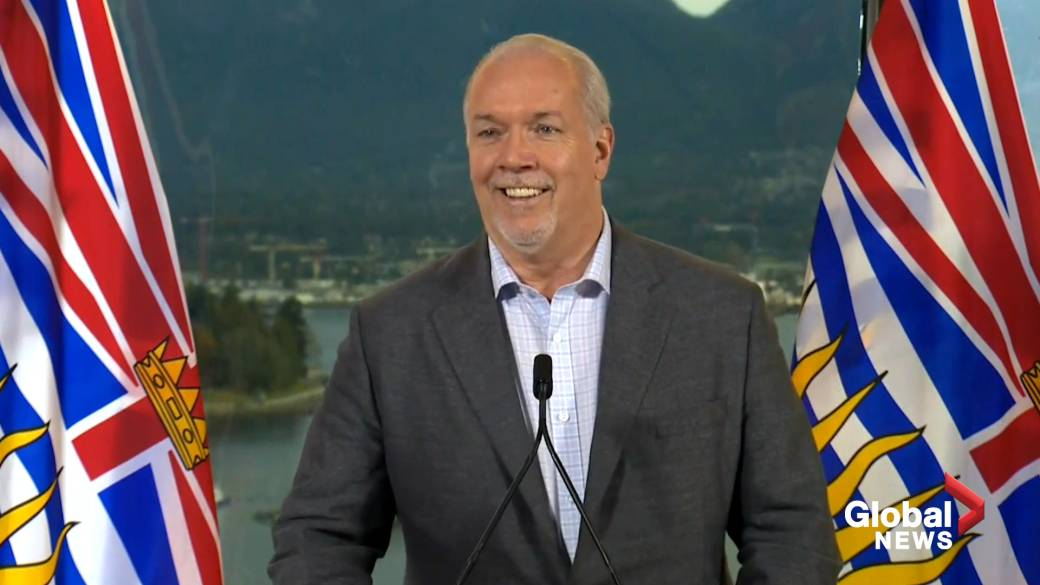 Click to play video 'B.C. election 2020: Horgan says he'll wait for mail-in ballots after his projected majority win'