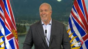 B.C. election 2020: Horgan says he'll wait for mail-in ballots after his projected majority win (01:40)