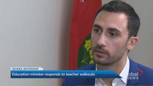 Education Minister Stephen Lecce responds to mass demonstrations amid Ontario teachers' strike