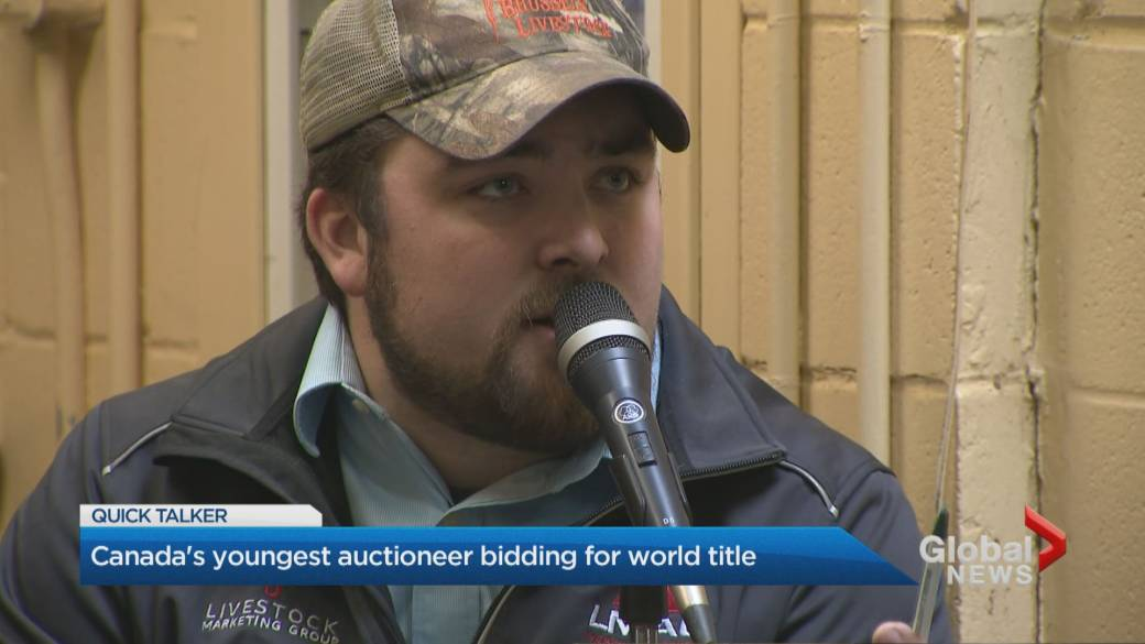 'He's just naturally gifted at it': Ontario livestock auctioneer bidding for world title