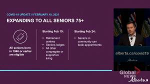 Alberta offering COVID vaccine to all seniors 75 and older (01:05)