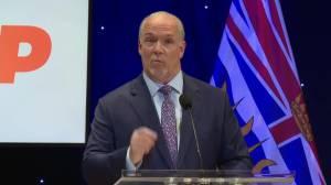 B.C. Leaders debate 2020: Horgan, Wilkinson clash over Surrey hospital (02:19)