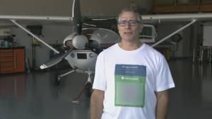 B.C. man puts COVID-19 vaccine card QR code on T-shirt (01:09)