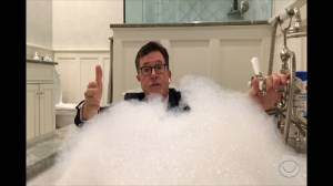 Stephen Colbert delivered a 'Late Show' monologue from his bathtub