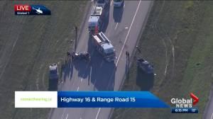 STARS responds to crash on Highway 16 west of Edmonton (00:53)