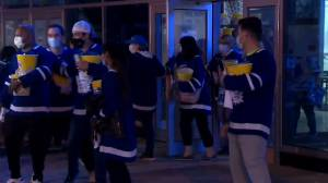 Health-care workers leave Leafs, Canadiens game with mixed emotions (01:49)