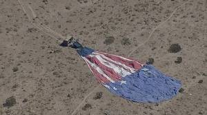Aerial footage shows deflated hot air balloon after hard landing