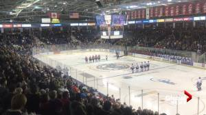Kelowna Rockets fans sing national anthem
