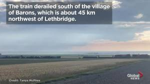 Evacuation ordered after train derails, leaking octane, in southern Alberta