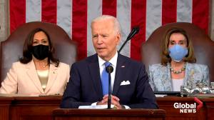 'It's about time:' Biden celebrates Kamala Harris as first female VP in address to Congress (00:30)