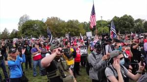 Proud Boys supporters rally in Portland