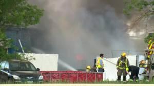 Fire burns at Oak Bluff business (00:32)