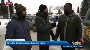 Edmonton Eskimos drop by Global Give Me Shelter donation drive