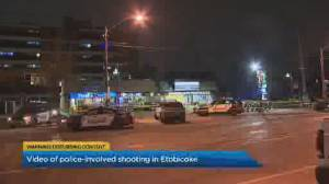 Security video appears to show police-involved shooting in Toronto's west end (02:43)