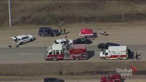 Aerial video of QEII police scene south of Edmonton near Leduc