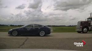 RCMP charge driver allegedly sleeping in a self-driving, speeding Tesla on the QEII (01:32)
