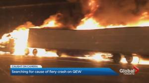 Woman dead in fiery crash on Toronto-bound QEW