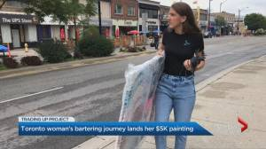 Toronto woman's bartering journey lands her $5k painting (02:02)
