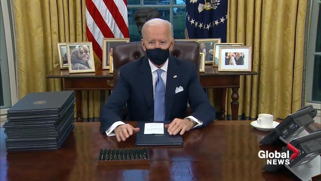Click to play video 'Alberta Premier Jason Kenney blasts President Biden on revoked Keystone XL permit'