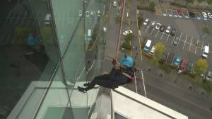 Yvonne Schalle takes part in Easter Seals Drop Zone