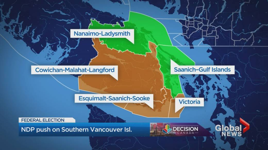 The NDP holds most of Vancouver Island, but Greens and Tories see blood in the water